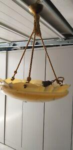 Original Art Deco Seil Hängelampe , marmoriert,  gezackt 20/30 er Jahre/Vintage