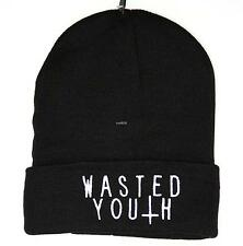 UNISEX MENS WOMANS KNIT KNITTED BEANIE RETRO COOL WASTED YOUTH BLACK