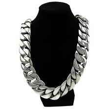 Heavy 30mm Wide Chain Silver Cuban Link 316L Stainless Steel Huge 30 MM Necklace