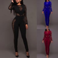 Womens Lace Long Sleeve Jumpsuit Romper Clubwear Playsuit Bodycon Party Trousers