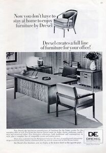 1965 Drexel PRINT AD Vintage 60's Home Office Furniture Chair Desk Great Detail