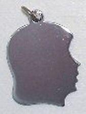 NEW 925 silver,girl's head charm,engravable familyCharm