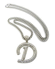 """Silver Hip Hop Iced Out Letter Initial D Alphabet 36"""" Cuban Chain Crystals New"""