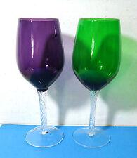 """2 Art Glass Wine Glasses Goblets  Purple & Green Air Twist Stem almost  9 """" tall"""