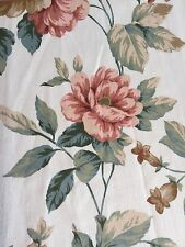 Curtain Sample Vintage Rose Fabric Blind Cushion Craft 60c92cm Cream Terracotta