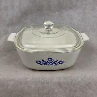60s Corning Ware Blue Cornflower 1.5 Casserole Dish P-1 1/2-B Pyrex Lid C-7 Vtg