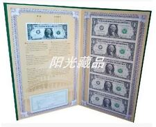 USA UNCUT 5x ONE DOLLAR US$1 banknote with hard folder (UNC), Y