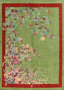 Vegetable Dye Floral Art Deco Chinese Area Rug Handmade Wool Transitional 8x10