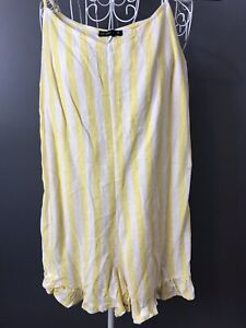 COTTON ON S 10 Womens Playsuit Jumpsuit Yellow White Spag Straps Short Linen