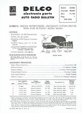 GM Delco 1957 Chevy Deluxe Push Button Radio 987693 Service and Parts Bulletin