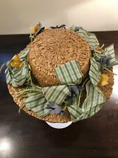 Antique Vintage Child's Or Doll's Straw Hat Saks Fifth Avenue Ribbon 8 X 8 1/2�