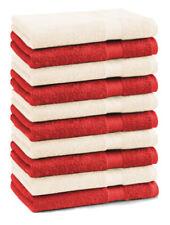 Betz lot de 10 serviettes d'invité Premium: rouge & beige, 30 x 50 cm, coton
