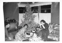Christmas Girls TREE Vintage FOUND PHOTOGRAPH bw FREE SHIPPING Original  97 19 S
