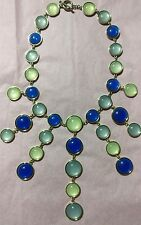 Blue Green Vintage J. Crew Inspired Statement Bib Necklace Silver-tone Chain
