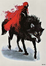 Wolf Umhang Aquarell Temporary Temporäre Klebe Einmal Tattoo 15 x 21 cm HB843