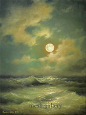 332- 18 x 24 GALLERY WRAP CANVAS ART PRINT MESH SEASCAPE MOONRISE Black Sea