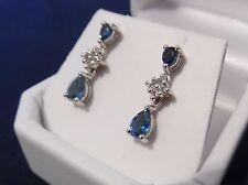 Beautiful 1.46cts  London Blue & White Topaz Sterling Silver Drop Earrings