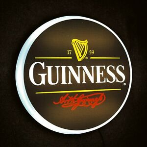 GUINNESS Light up LED bar wall sign logo Pub Beer Lager ale man cave garage shed