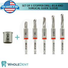 Set Of 5 Surgical Stopper Drills Ø2.8 And Guide Sleeve Dental Implant Drill