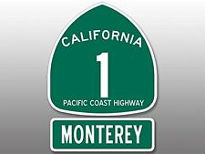 2 Pcs: 4x5.5 inch PCH Highway 1 Sign MONTEREY Sticker - california road route