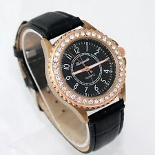 Ladies Fashion Rose Gold Rhinestone Quartz Black Dial Black Band Wrist Watch.