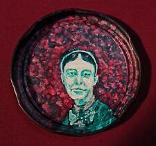 MARY CASSATT, Painter, Jam Jar Lid Portrait, Outsider Folk Art by PETER ORR
