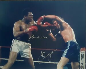 MUHAMMAD ALI & JOE BUGNER DUAL Signed Photo 16x20 Online Authentics COA