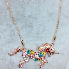 Multi-Color Unicorn Charm Pendant Necklace Crystal Long Chain Jewelry Acc Gifts