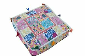 """Indian Cotton Ottoman Pouf Cover Footstool Patchwork 16X16X5"""" Inches Handmade"""