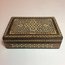 Vintage Handmade Brown & White Wood Jewelry Box With Maroon Felt Inside