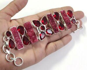 Red Druzy Quartz Red Garnet Gemstone Handmade Jewelry Silver Bracelet B-381