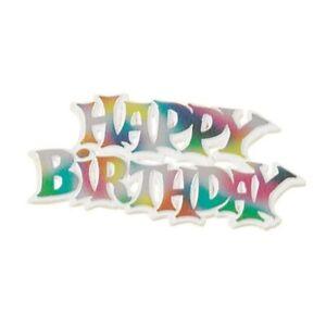 Happy Birthday Plastic Motto Cake Topper Decoration - Size 76mm