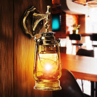 E27 Retro Vintage Antique Rustic Lantern Lamp Wall Sconce Light Fixture Outdoor
