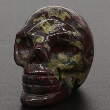 1 Inch Natural Dragon Blood Jasper Crystal Healing Carved Stone Human Skull
