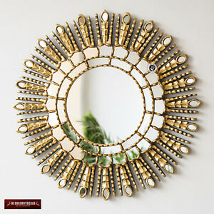 "Peruvian Round Sunburst Mirror 23.6"", Gold Leaf Accent Mirrors wall decorative"
