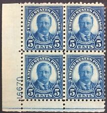 Scott #586, Plate Block, small hinge remnant at top, 5c Roosevelt Perf 10