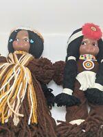 RARE - Native American Homemade Yarn Dolls  Vintage Mid Century (2) Dolls Total