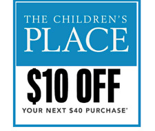 2(two) x THE CHILDREN'S PLACE $10 off $40+ codes Valid through 3/2/2020