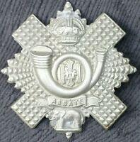 Highland Light Infantry (HLI) White Metal Badge, w Bugle, Crown, & Assaye Legend
