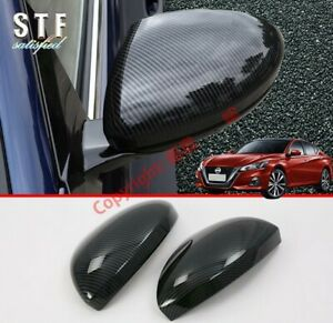 Carbon Fiber Style Side Mirror Cover Trim For Nissan Altima MK7 2019 2020