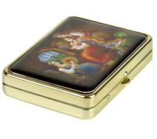 TRAVEL PILL BOX 3-Compartment Organizer with Mirror Russian SCARLET FLOWER ART
