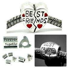 Antique Silver Tone Best Friend Friendship Charms For Charm Bracelets