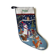 Lands End Needlepoint Christmas Stocking Snowman Fox Monogrammed HUGGY New