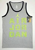 NIKE AIR JORDAN Boys' Kids' Neon Print Vest, Tank Top, Grey, sizes 10-13 years
