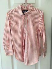 Genuine Ralph Lauren Childrens Kids Shirt - Orange/White Stripe - Size 4/4T