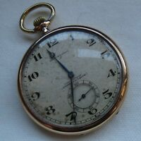 Longines Pocket watch open face gold filled case dial adv Cigarrillos Combinados