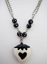 Cute BLACK STRAWBERRY HEART Bead Silver LONG BALLCHAIN NECKLACE Rockabilly/Pinup