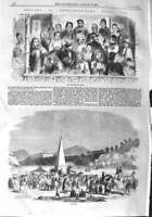 Original Old Antique Print 1858 China Hong Kong Horse Races Course Happy 19th