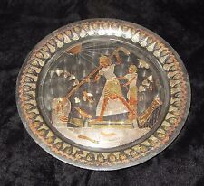 "SMALL EGYPTIAN COPPER OR BRASS PLATE; 5.5""; FISHERMAN W SPEARS"