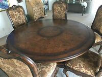 Marge Carson CHO-8 Chateau Chaumond 6 foot Round Dining Room Tablle and Side Cha